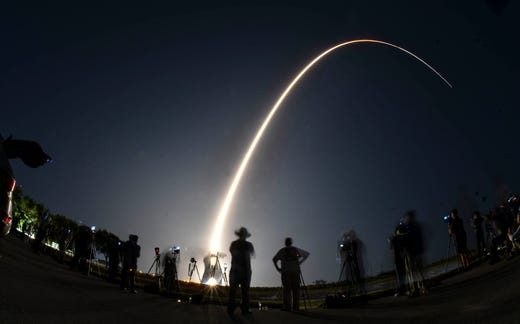 "A Delta IV rocket launches from the Cape Canaveral Air Force Station on Friday, March WGS-10 15, 2019. ""data-id ="""